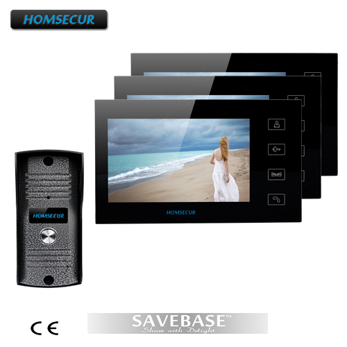 "HOMSECUR 7"" Video Doorphone Intercom Doorbell Home Security 1Camera 3Monitor Night Vision"
