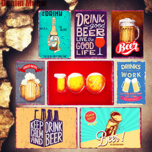 Keep Calm Drink Beer Retro Metal Plates Bar Pub Decoration Home Decor Wall Art Poster Craft Stickers Ad Sign Plaque MN105