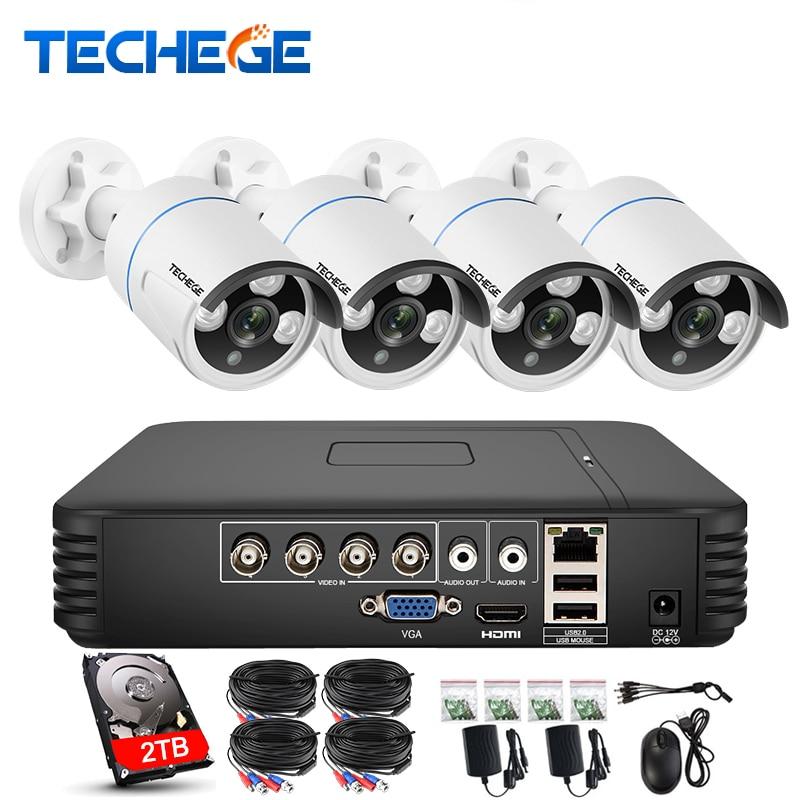 Techege 4CH AHD 3 DANS 1 Sécurité DVR Système HDMI 1280*720 1200TVL AHD Extérieure Résistant Aux Intempéries CCTV Caméra 1.0MP AHD Kit de Surveillance