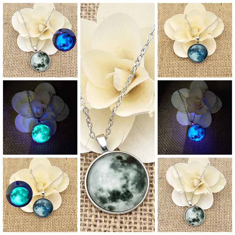 SUTEYI Glass Luminous Star Series Planet Necklace Crystal Cabochon Pendant Glow in the Darkness Necklaces Christmas