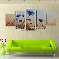 Handmade Paintings On Canvas Wall Art Abstract Picture Blue Wild Flowers Home Decoration For Living Room