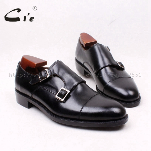 cie Round Cap Toe Double Monk Straps Handmade 100%Genuine Calf Leather  Goodyear Welted Men s Shoe Leather Bottom Outsole MS126 8dc3bc68459