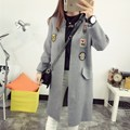 Pregnant women big yards loose stitching wool knit cashmere coat sleeve hooded cardigan jacket women