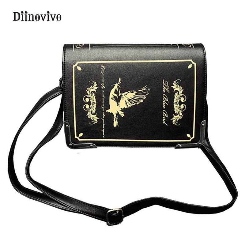 DIINOVIVO England Style Retro Shoulder Bag Simple Brand Women Exquisite Punk Handbag Magic Dictionary Printed Books Bag WHDV0155