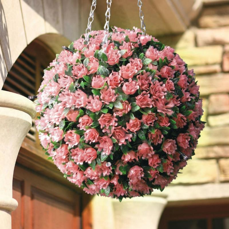 ФОТО New 20LED ArtifIcial  30cm Solar Rose Flower Topiary Hanging Garden Ornament Ball Lights Hanging Garden Basket