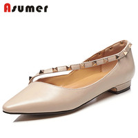 Asumer 2018 fashion new arrivals shoes woman genuine leather pointed toe rivet flats shoes party wedding shoes nude black