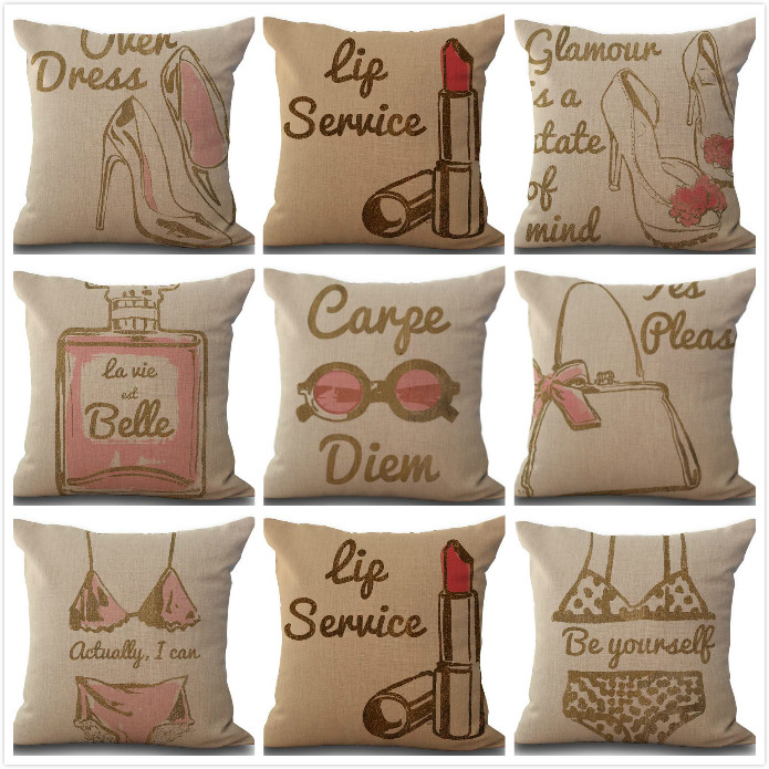 Creative hot bikini high heel girl printed linen cushion Cushion cover sofa bed car Dec printed brief covers wholesale FG577