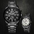 2016 luxo marca bosck relógio preto dos homens de moda casual masculino de negócios de quartzo relógios militar de aço inoxidável à prova d' água esportes