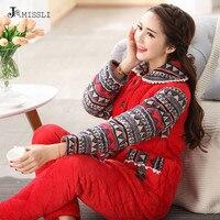 JRMISSLI Thick Coral Fleece Plush Winter Warm Women Lounge Pajama Sets Lovely Neck Flannel Red Long