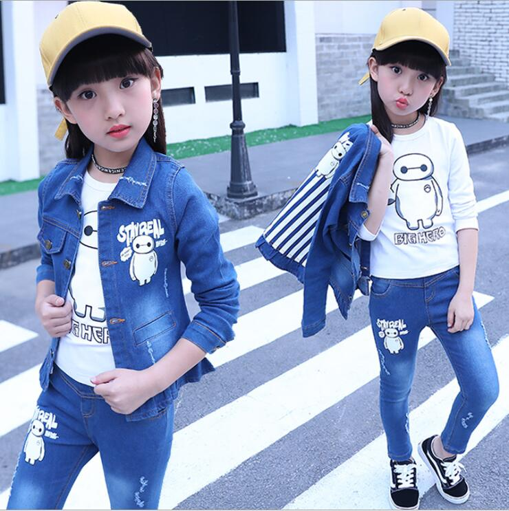 Fashion Clothing Kids Cowboy Suit Children Girls Sports Denim Clothes cartoon Denim Jacket + T-shirt+Pants set 3pcs set 4-13year 2015 autumn girls clothes fashion punk pu leather coat jacket shirt pants 3pcs children clothing set 4 15 years old kids clothes page 5