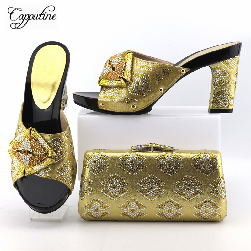 Capputine High Quality Italian Shoes And Bag Set Hot Sale African Rhinestone Woman High Heels Gold Shoes And Bag Set For Party capputine new italian woman pu leather shoes and shopping big bag set african fashion high heels shoes and bag set for party