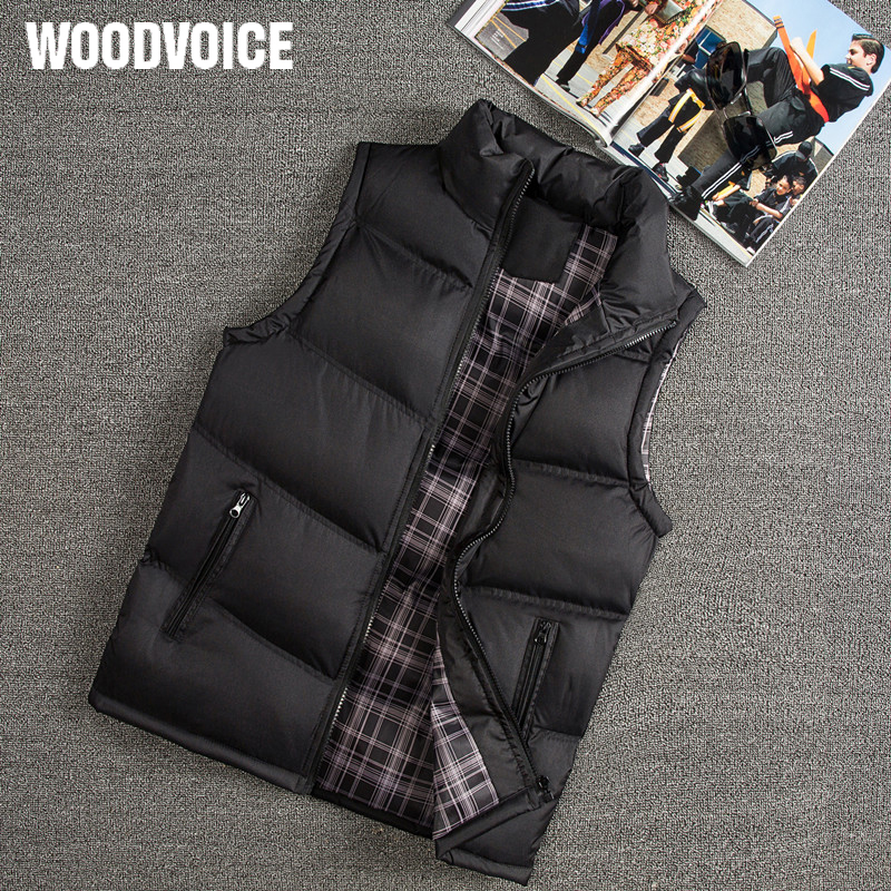 Woodvoice Brand Winter Vest Men Slim Fit Casual Vest Male Warm Waistcoats Sleeveless Jackets Stand Collar Men's Vests Plus Size