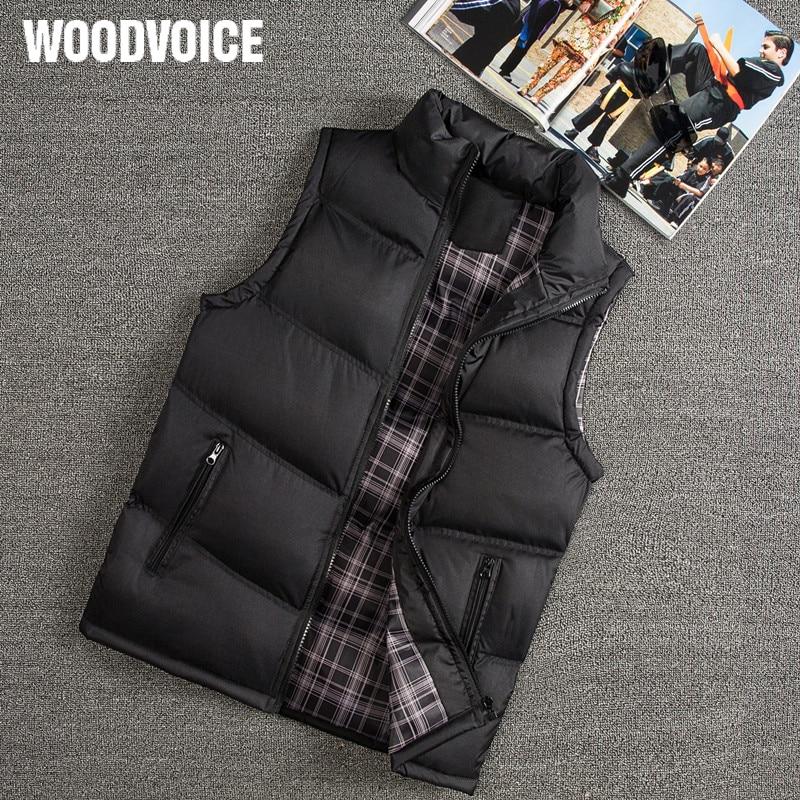 Woodvoice Brand Winter Vest Men Slim Fit Casual Vest Male Warm Waistcoats Sleeveless Jackets Stand Collar Men's Vests Plus Size