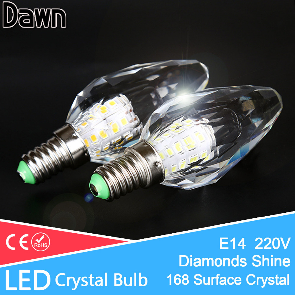 Diamond 168 Surface Crystal LED Lamp Candle Bulb E14 7W 220V LED Light Bulb Cool Warm White Lampada Bombillas Ampoule Lampe led