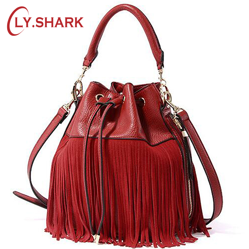 LY.SHARK Women Leather Handbags Tassel Bucket Bag Luxury Handbags Women Bags Designer Quality Shoulder Crossbody Messenger Bags fashion leather handbags luxury head layer cowhide leather handbags women shoulder messenger bags bucket bag lady new style
