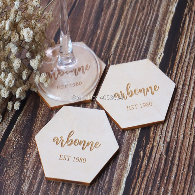 Us 4 12 16 Off Aliexpress Com Buy Personalized Hexagon Coasters Personalized Gift Wedding Favors Engraved Geometric Wooden Coasters From Reliable