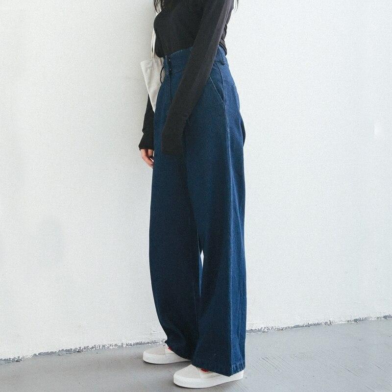 2019 Spring Autumn New Women Vintage Denim Pants Solid Color High Waist Straight Wide Leg Pants
