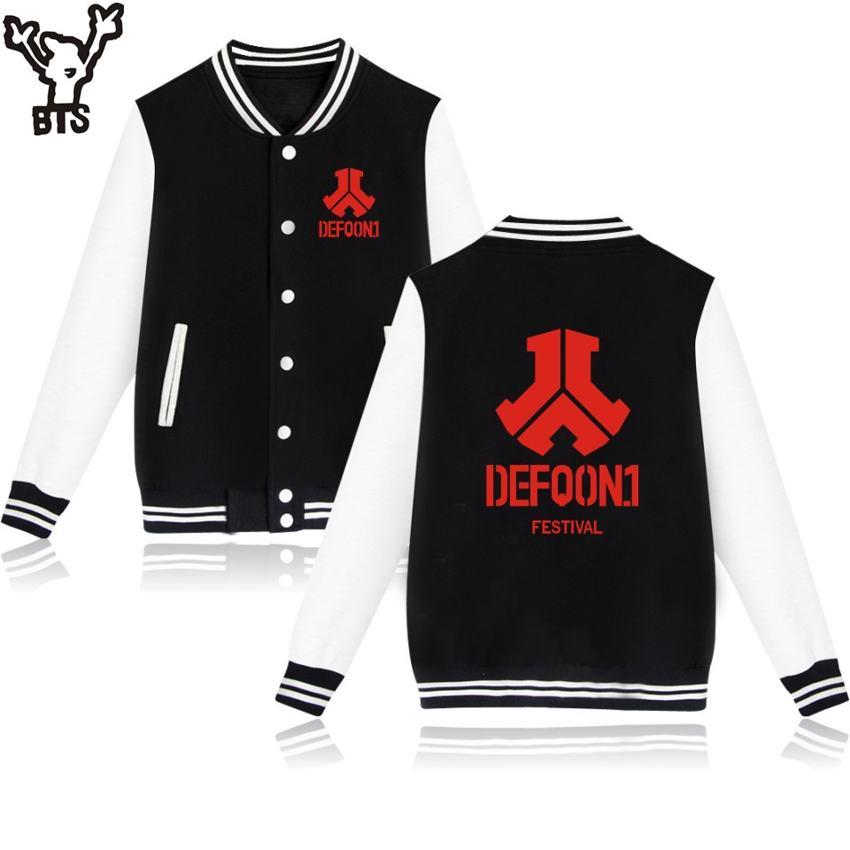 BTS Defqon 1 Baseball Jacket Hoodies Men Sweatshirt Casual Electronic Music Sweatshirt Men Hoodie Hip Hop Rock 4XL Jacket Clohes