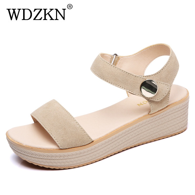 WDZKN Summer Wedge Sandals Women Casual Shoes Comfortable Cow Suede Concise Platform Sandals Woman Peep Toe High Heels H8631