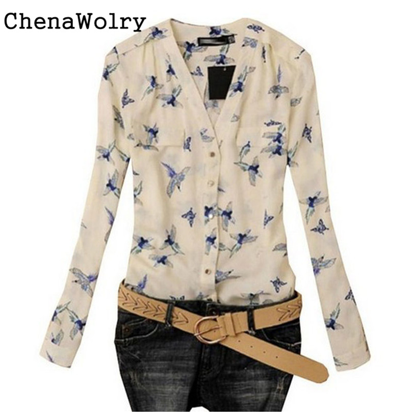 ChenaWolry 1PC Women's Fashion Elegant Bird Print Blouse Long Sleeve Casual Slim Shirts Hot Sales Attractive Luxury New Nov 17