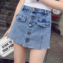 fe19ee510f EXOTAO botón pantalones cortos faldas de verano Mini Mid-Cintura arrancó  una palabra Denim negro Pantalones cortos