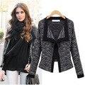 Mulheres Primavera e no outono casaco fino casaco todo o jogo projeto longo-luva jaqueta curta outerwear moda cardigan da longo-luva