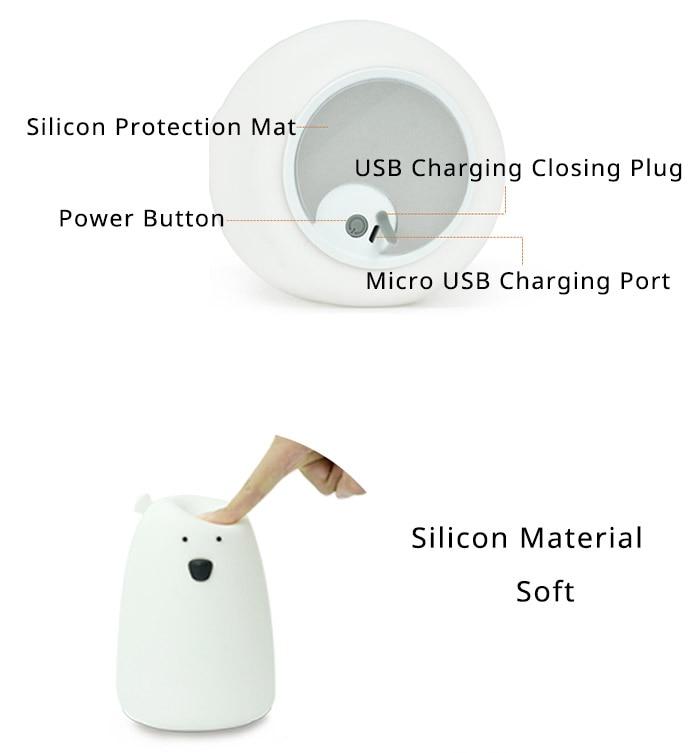 Premium 7 Colors LED USB Children Animal Night Light Silicone Soft Cartoon Baby Nursery Lamp Breathing LED Night Light