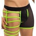 Frete grátis mens underwear boxers nylon mens sexy lace calcinhas gay mens underwear transparente shorts homens sous vetement homme
