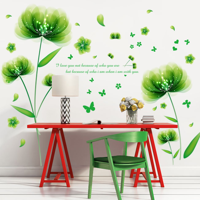 5b6e9ca8b39d40 Cozy Green Flower Butterfly DIY Wall Sticker for Living Room Dining Wall  Decor Art Removable Vinyl Wall Decals Home Decoration