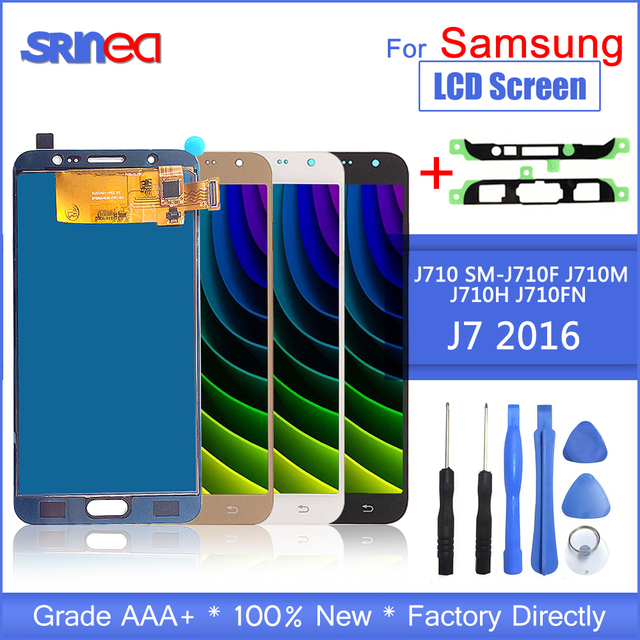 For Samsung Galaxy J7 2016 Display J710 LCD Display And Touch Screen Digitizer Assembly SM J710f Adjustable With Adhesive Tools
