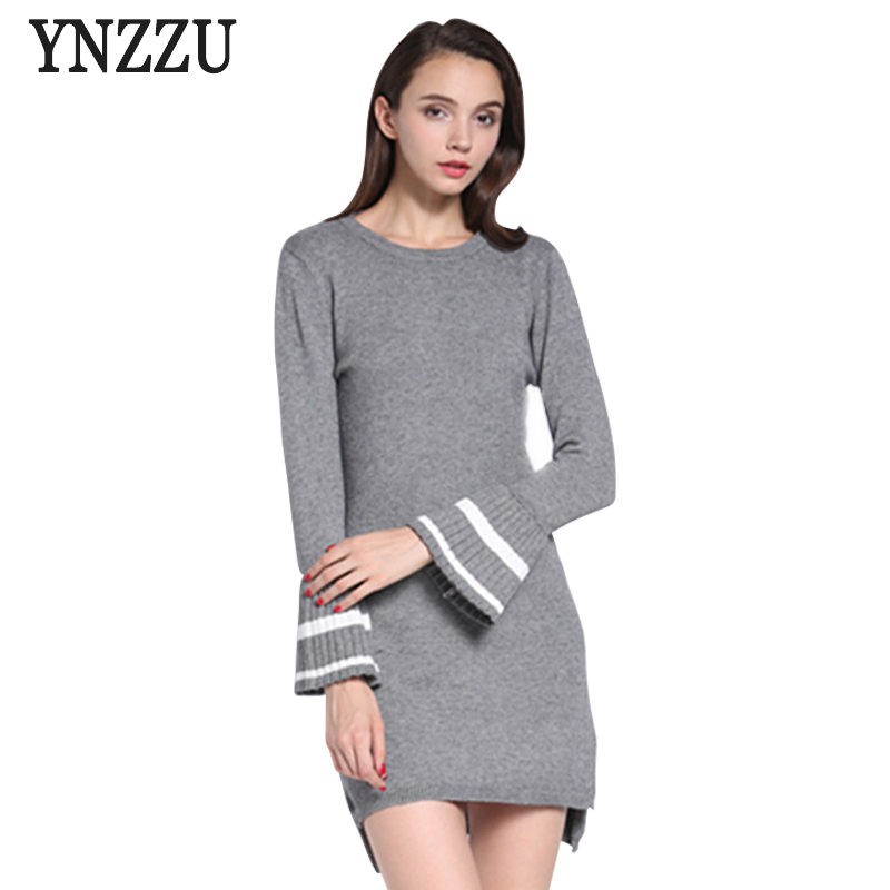 Women Sweater Dress 2018 Autumn Flare Sleeves Fashion Elegant Gray Knitted Dresses Femme O-Neck all-match Dress Vestidos AD187