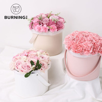 2PCS Leather hand hug barrel flowers portable box small hold bucket round flower box flower shop special decoration gift