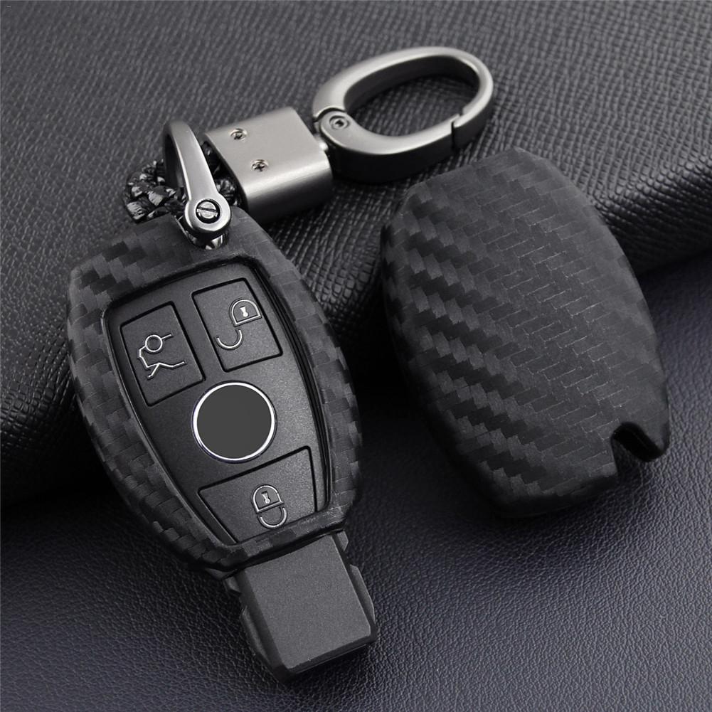 Carbon Fiber Car Key Case Holder Protector Accessories For Mercedes-Benz 1PCS