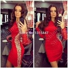 Phantasie Kristall Mini Short Red Prom Dresses Long Sleeve Für Jugendliche 2016 Sexy Frauen Robe De Cocktail Party Kleider Vestido de baile