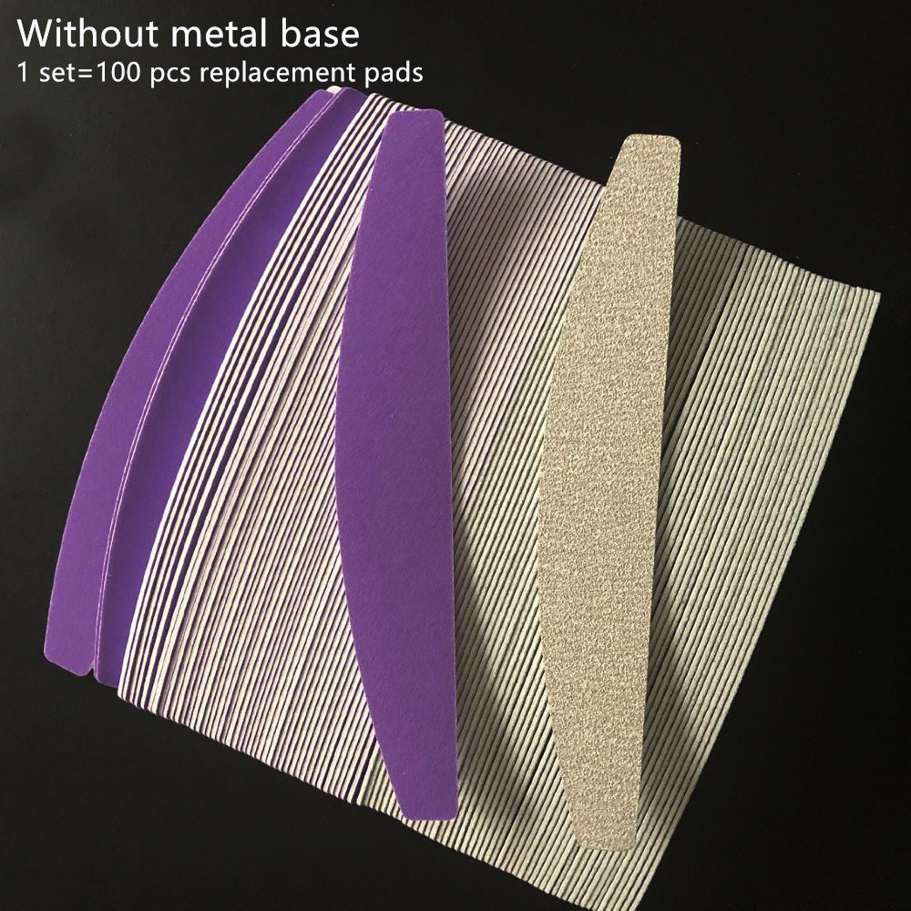 100 Pcs Removalble Pads Durable Nail File  Replacement Sandpaper Pads  Halfmoon Shape Nail File