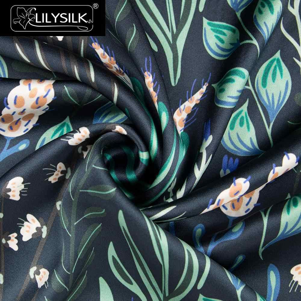 LilySilk משי ציפית 19 Momme כחול ציור תמציתי לבן פרח עם כחול משלוח חינם