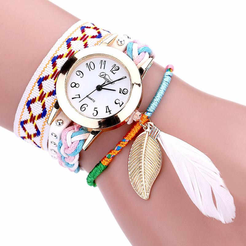 The New Authentic Watch High Quality Bohemian Unique Leaf Design Fashion Watch Women Winding Analog Quartz Movement Wrist Watch