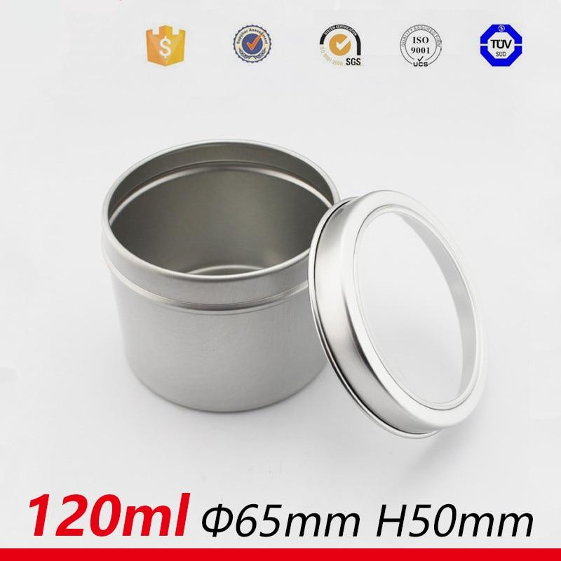 Contenedor de lata de aluminio de 120g con ventana de visualización de 120 ml macetas de aluminio tarro de envase cosmético de latas 4,2 oz vacío vela de cera de frascos-in Botellas rellenables from Belleza y salud    1