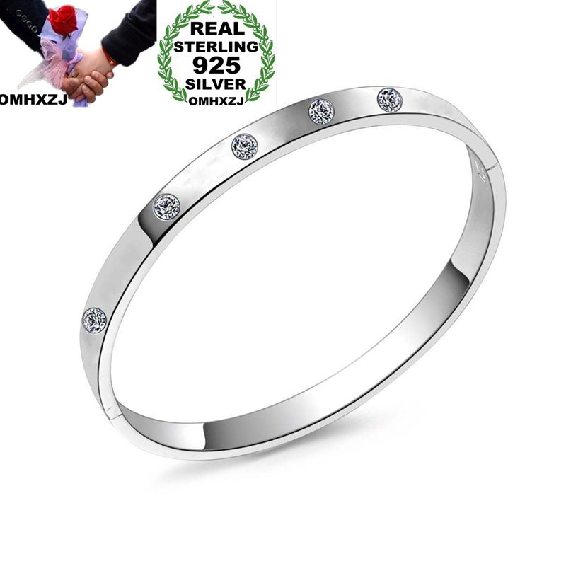 OMHXZJ Wholesale Personality Fashion Woman Girl Party Gift Silver Simple Zircon 925 Sterling Silver Cuff Bangle Bracelet BR159OMHXZJ Wholesale Personality Fashion Woman Girl Party Gift Silver Simple Zircon 925 Sterling Silver Cuff Bangle Bracelet BR159