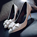 2017 spring and aurtumn women high heels sexy shallow mouth bow pumps shoes red wedding shoes black female shoes