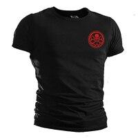 Mens Casual TV Đại Lý của SHIELD. Hydra Logo Đen Ngắn Tay 100% Cotton O-Cổ Print T-Shirts Tee Áo Sơ Mi