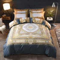 Luxury Europe Style Bohemia Printing 100% Cotton Palace Bedding Set Duvet Cover Bed Linen Bed sheet Pillowcases Queen King 4pcs