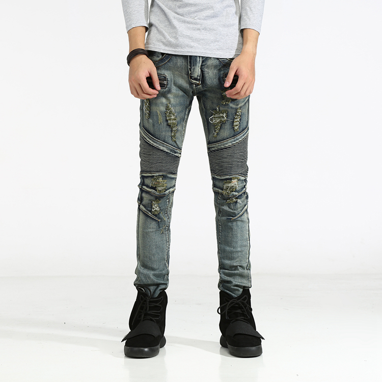 High Quality Fashion Design Mens Casual Jeans Slim Fit Elastic Straight Denim Biker Jeans Skinny Jeans Men Pants 29-42 2016 high quality mens jeans blue color printed jeans for men ripped button jeans casual pants quality cotton denim jeans