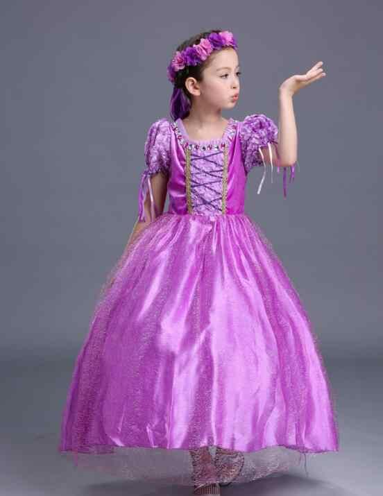 Noel fantezi kızlar Rapunzel prenses elbise çocuklar sofya parti kız elbise bebek kış Aurora çocuk kostüm ayak bileği uzun elbise