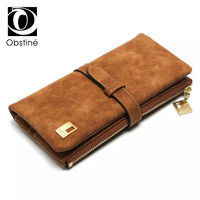2017 New Fashion Women Wallet Solid Slim PU Leather Coin Pocket Wallets High Quality Clutch Two