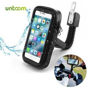 Image 1 - Untoom עמיד למים אופנוע אופנוע טלפון מחזיק טלפון סלולרי הר Bracket עבור סקוטר Rearview מירור Stand עבור iPhone Xiaomi