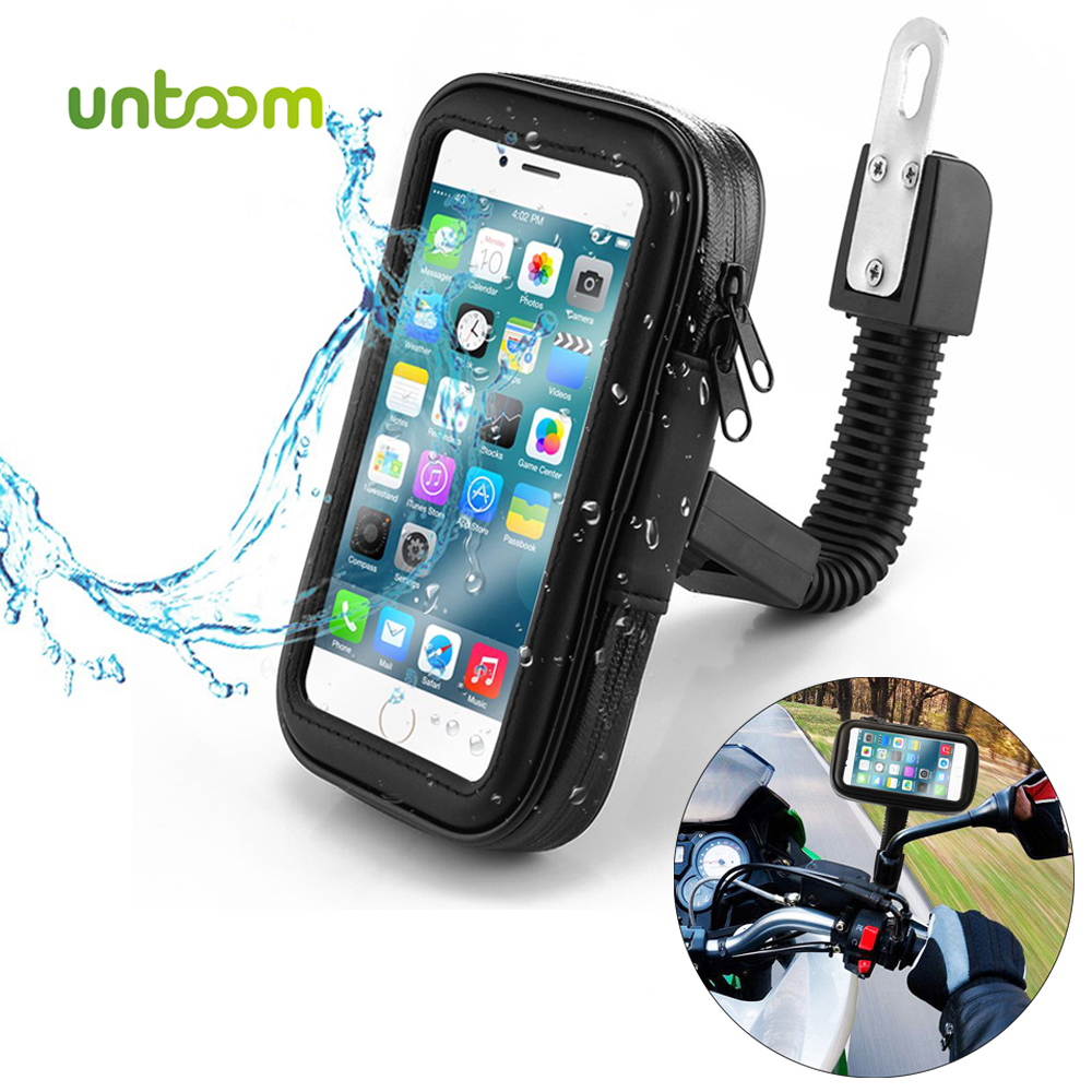 Untoom Waterproof Motorcycle Motorbike Phone Holder Cell Phone Mount Bracket For Scooter Rearview Mirror Stand For IPhone Xiaomi