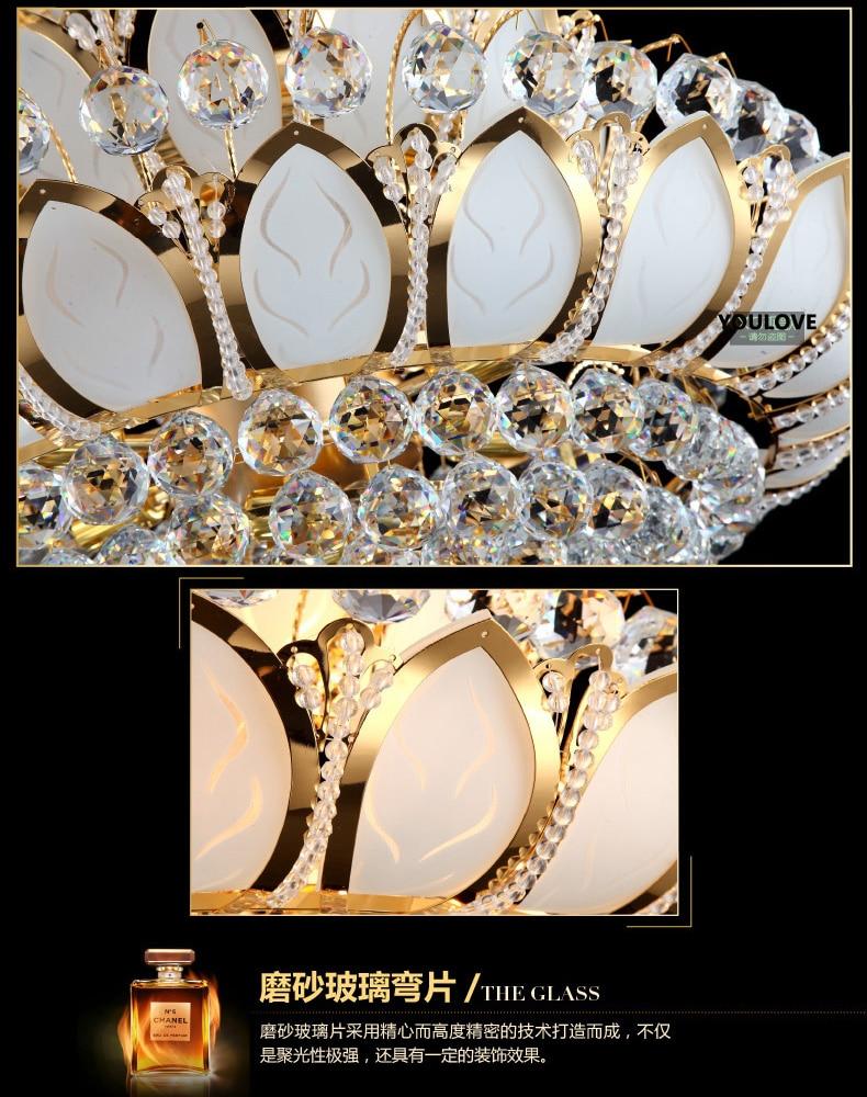 European Lotus Flower Gold Crystal Chandeliers Lights Fixture