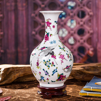 Antique Jingdezhen Luminous Ceramic Vase With Flowers Bird Patterns Table Porcelain Vase Decorative Home Vase Ornament Crafts