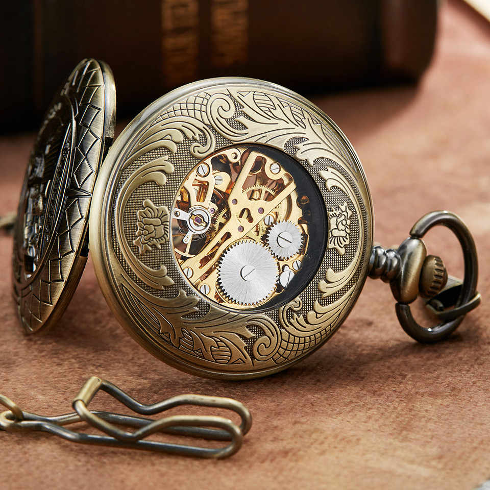 Montre de poche mécanique rétro en Bronze la chaîne de montre de poche mécanique pour hommes squelette creux avec chiffres romains
